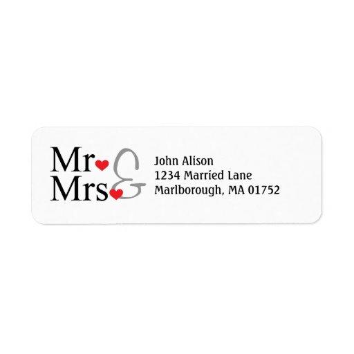 Sr. y señora etiqueta de dirección