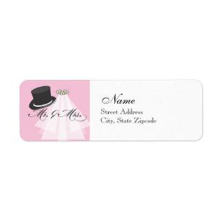 Sr. y señora etiqueta del remite - rosa etiquetas de remite