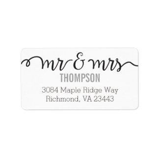 Sr. y señora etiquetas de dirección