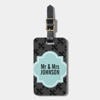 Sr. y señora etiquetas de la flor de lis del equip etiquetas de maletas