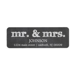 Sr. y señora etiquetas de la pizarra del remite etiquetas de remite