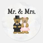 Sr. y señora etiquetas redondas