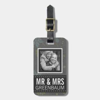 Sr y señora florales grises Personalized Photo Etiquetas Maletas