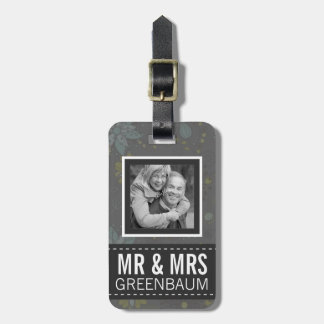 Sr. y señora florales grises Personalized Photo Etiquetas Para Maletas