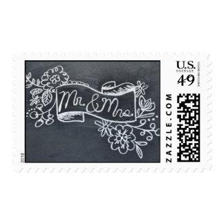 Sr. y señora franqueo del arte de la pizarra timbre postal