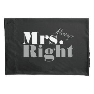 Sr. y señora funda de almohada siempre correcta de funda de cojín