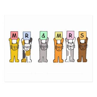 Sr. y señora gatos que casan enhorabuena postales