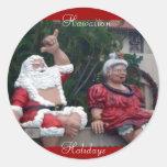 Sr. y señora hawaianos Santa, pegatinas Etiquetas Redondas