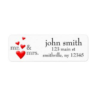 Sr. y señora Hearts Address Labeled Etiquetas De Remite