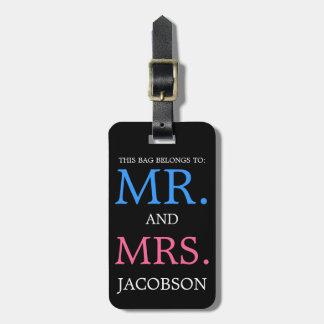 Sr. y señora intrépidos Pink y azul Etiqueta De Maleta