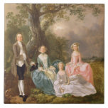 Sr. y señora Juan Gravenor y sus hijas, Eliz Azulejo Cuadrado Grande