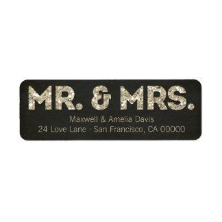 Sr. y señora Labels de la mirada del brillo del or Etiquetas De Remite