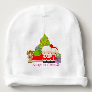 Sr. y señora lindos Papá Noel personalizado Gorrito Para Bebe