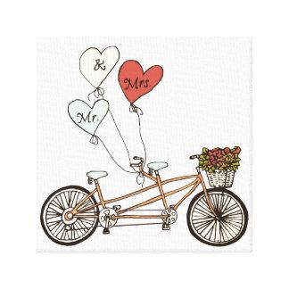 Sr. y señora lona envuelta de la bici del amor impresión en lienzo estirada
