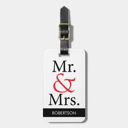 Sr. y señora Luggage Tag Etiquetas Para Equipaje