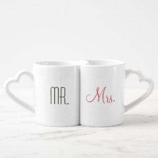 Sr. y señora modernos retros tazas para parejas