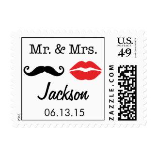 Sr. y señora Mustache y labios que casan el sello