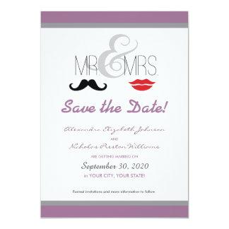 """¡Sr. y señora Mustache y Reserva--Fecha del lápiz Invitación 5"""" X 7"""""""