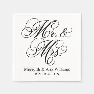 Sr. y señora Napkins el | blanco y negro Servilletas De Papel