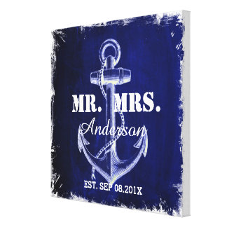 Sr. y señora náuticos del boda del ancla azul lona envuelta para galerias