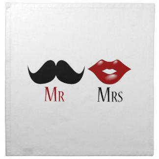 Sr. y señora negros del bigote del manillar servilletas