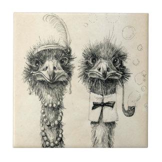 Sr. y señora Ostrich Azulejo Cuadrado Pequeño