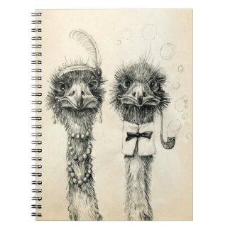 Sr. y señora Ostrich Libretas Espirales
