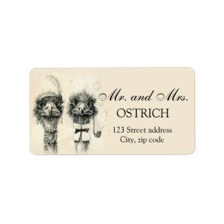 Sr. y señora Ostrich Etiqueta De Dirección