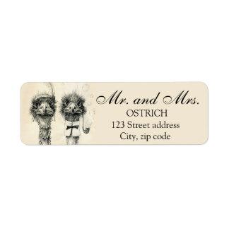 Sr. y señora Ostrich Etiqueta De Remite