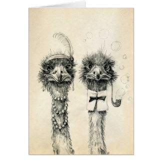 Sr. y señora Ostrich Tarjeta De Felicitación