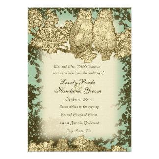 Sr y señora Owl Wedding Invitation del vintage Invitaciones Personalizada