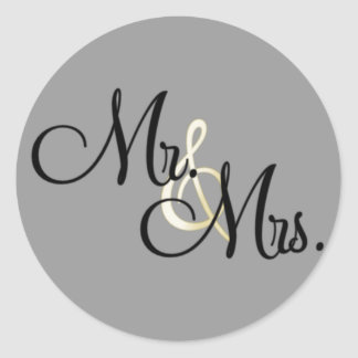 Sr. y señora pegatinas redondas
