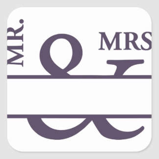 Sr. y señora pegatina cuadrada