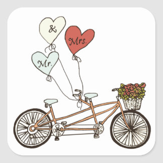 Sr. y señora pegatina de la bici del amor