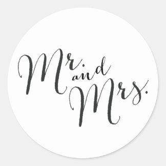 Sr. y señora pegatinas del cierre pegatina redonda