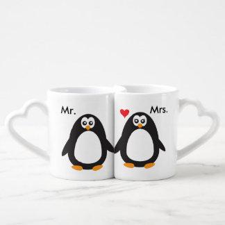 Sr. y señora Penguin Love Taza Para Enamorados