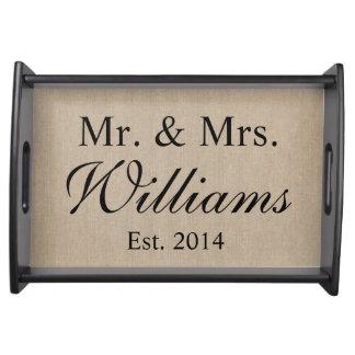 Sr. y señora personalizados Wedding Bandeja