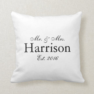 Sr. y señora Personalized Wedding Pillow Cojín Decorativo