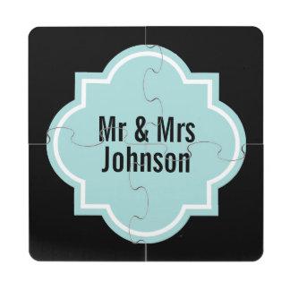 Sr. y señora posavasos de puzzle con diseño del qu