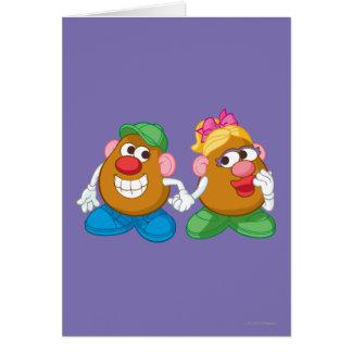 Sr. y señora Potato Head Holding Hands Tarjeton