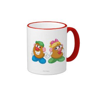 Sr. y señora Potato Head Holding Hands Taza De Dos Colores