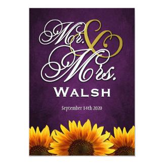"""Sr. y señora Purple Sunflower Wedding Invitations Invitación 5"""" X 7"""""""