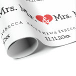 Sr. y señora Red Heart Wedding Papel De Regalo