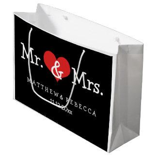 Sr. y señora Red Heart Wedding Personalized Bolsa De Regalo Grande