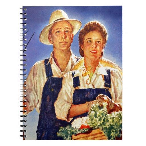Sr. y señora retros Farmers del poster de la guerr Libreta