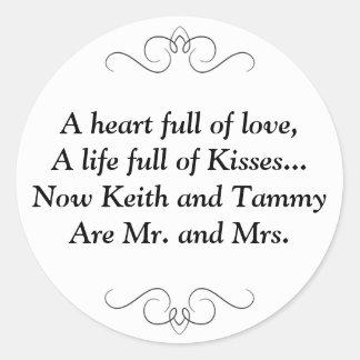 Sr. y señora Round Sticker Etiquetas Redondas