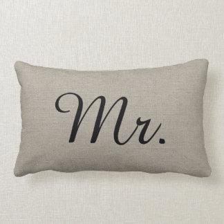 Sr. y señora rústicos Cute Wedding Keepsake Cojín