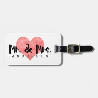 Sr. y señora rústicos sellados Monogram del Etiquetas Para Maletas
