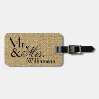 Sr. y señora rústicos Travel Luggage Tag de la Etiquetas Maleta
