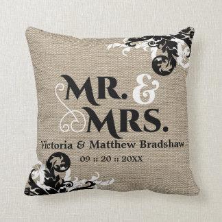Sr. y señora rústicos Wedding de la mirada de la Cojines